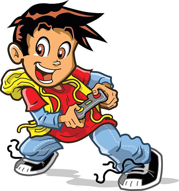 Videogame Boy vector art illustration