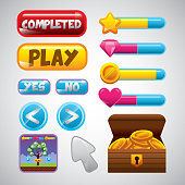 videogame interface buttons and box with gold coins over white background. colorful design. vector illustration