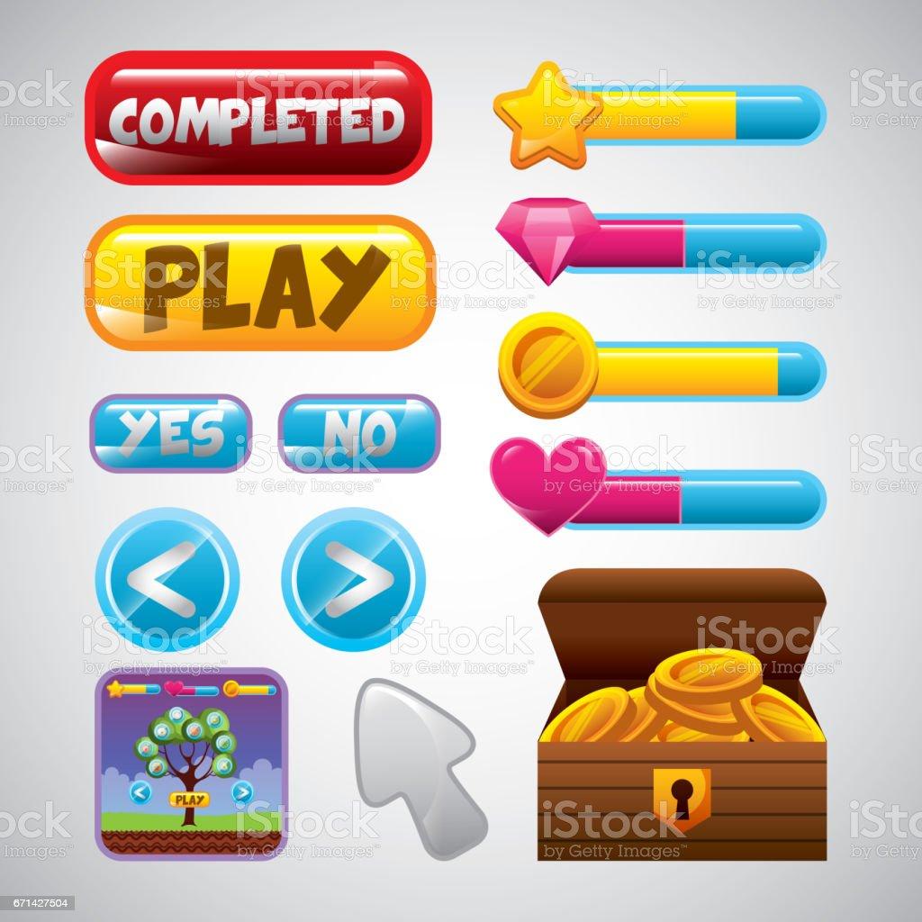 videogame interface design vector art illustration