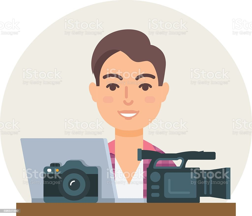 Videographer, photographer, clipmaker vector illustration flat style royalty-free videographer photographer clipmaker vector illustration flat style stock vector art & more images of adult