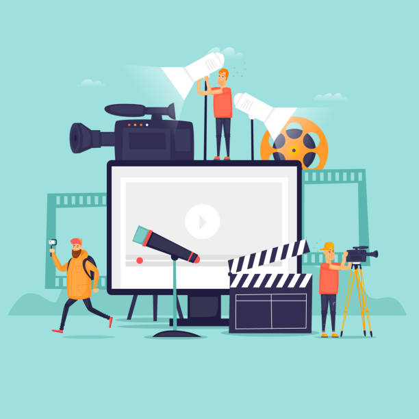 Videography, shooting film in studio. Flat design vector illustration. Videography, shooting film in studio. Flat design vector illustration. broadcasting stock illustrations
