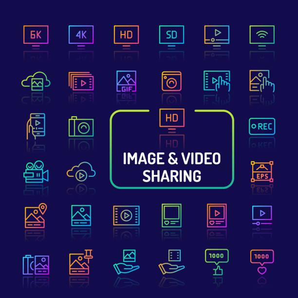 視頻和圖像共用漸變線圖示集 (eps 10) - gif 幅插畫檔、美工圖案、卡通及圖標