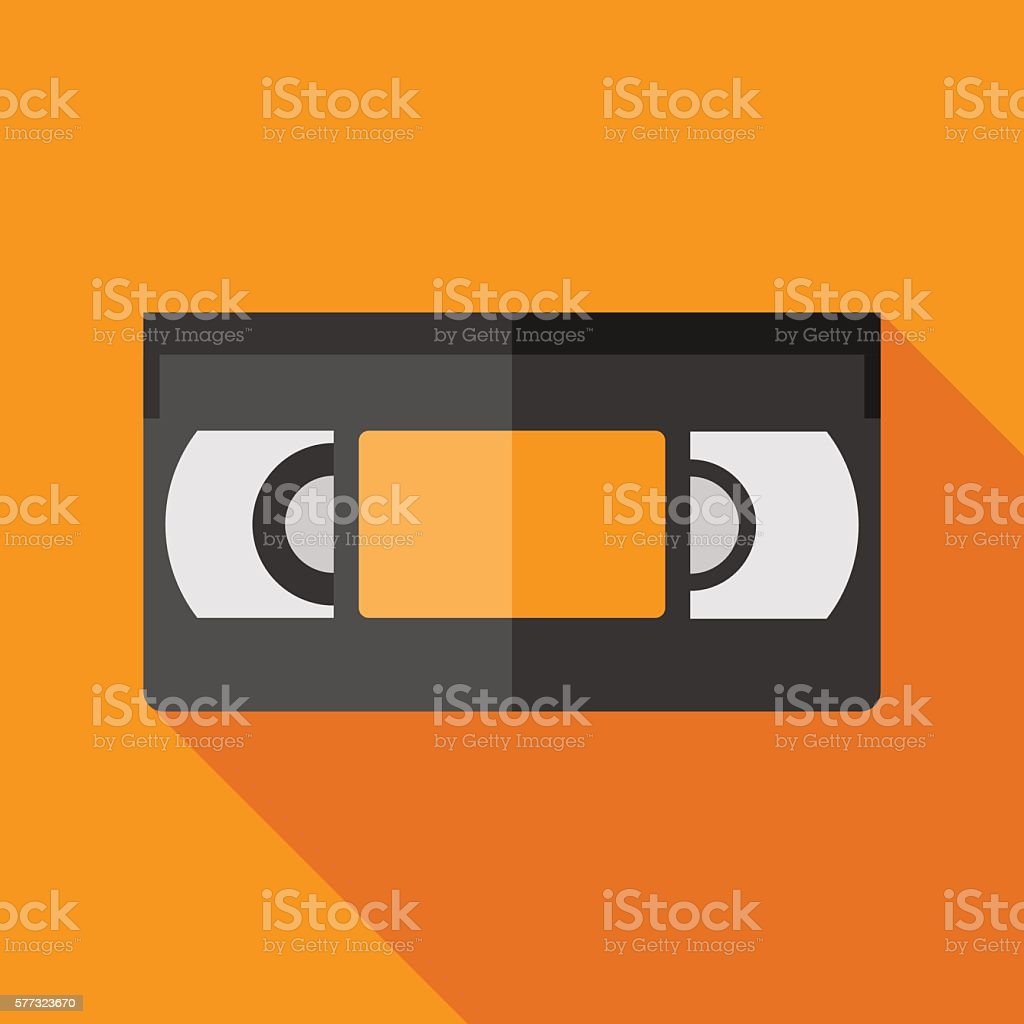 videotape icon with long shadow. flat style vector illustration vector art illustration