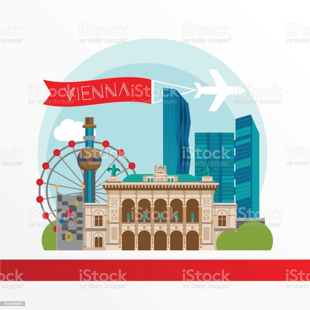 Vienna detailed silhouette. Trendy stylish colorful landmarks. vector art illustration