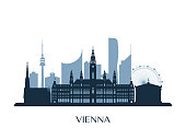 Vienna skyline, monochrome silhouette. Vector illustration.