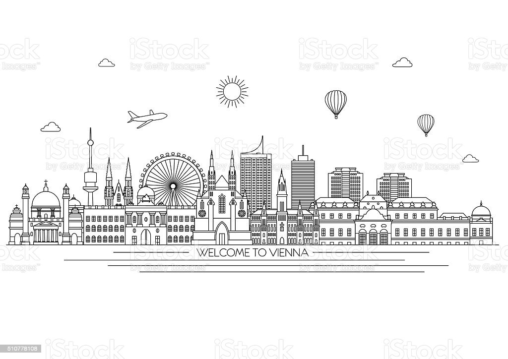 Vector Drawing Lines Html : Vienna skyline vector line illustration style design