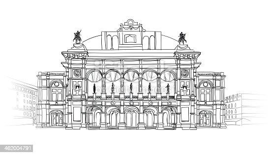 European famous building. Vienna landmark. Theater Wiener Staatsoper. Vector Hand-drawn Sketching Illustration.