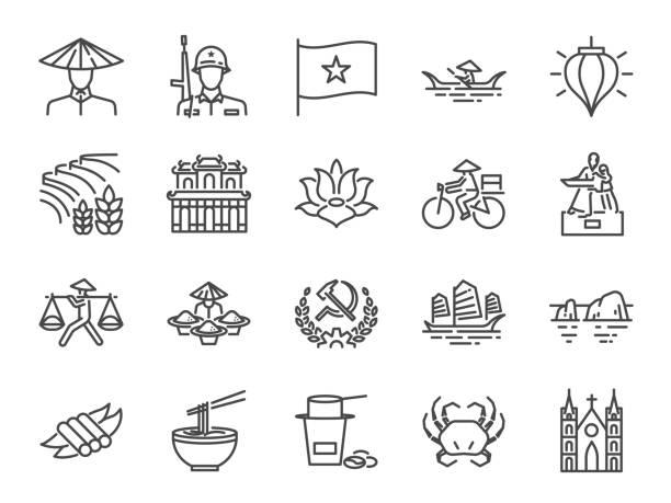 Vietnam-Icon-Set. Enthalten Symbole als vietnamesische, street Food Nudelsuppe Pho, Kommunist, Ho Chi Minh, Sehenswürdigkeiten und mehr. – Vektorgrafik