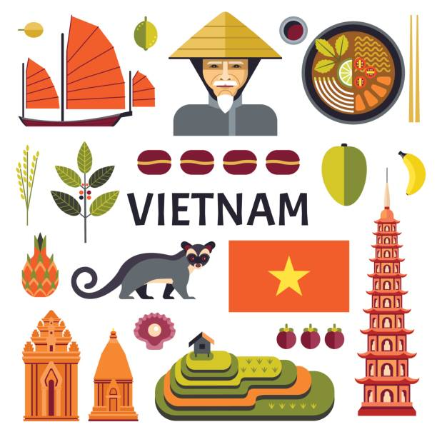 illustrazioni stock, clip art, cartoni animati e icone di tendenza di vietnam icons collection. - coffee farmer