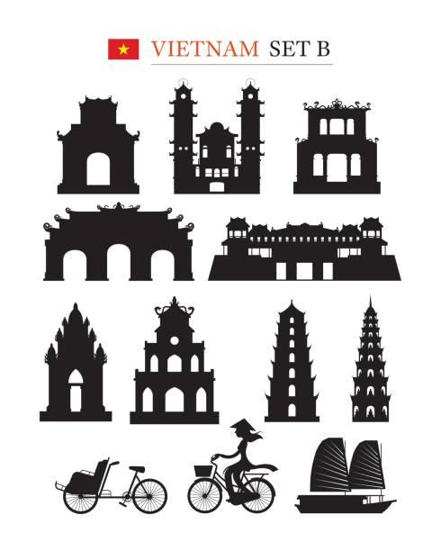 illustrazioni stock, clip art, cartoni animati e icone di tendenza di vietnam landmarks architecture building object set - huế