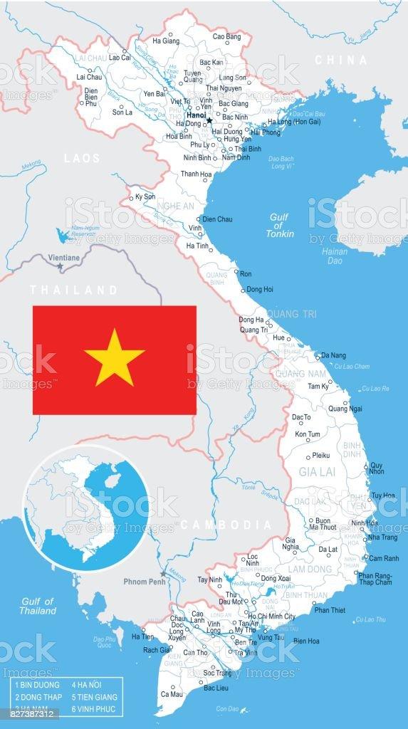 Vietnam Map And Flag Illustration Stock Vector Art 827387312 Istock