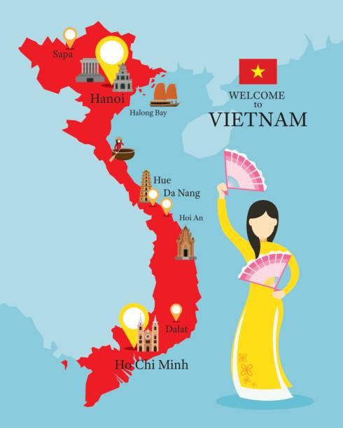 illustrazioni stock, clip art, cartoni animati e icone di tendenza di vietnam map and landmarks with people in traditional clothing - huế