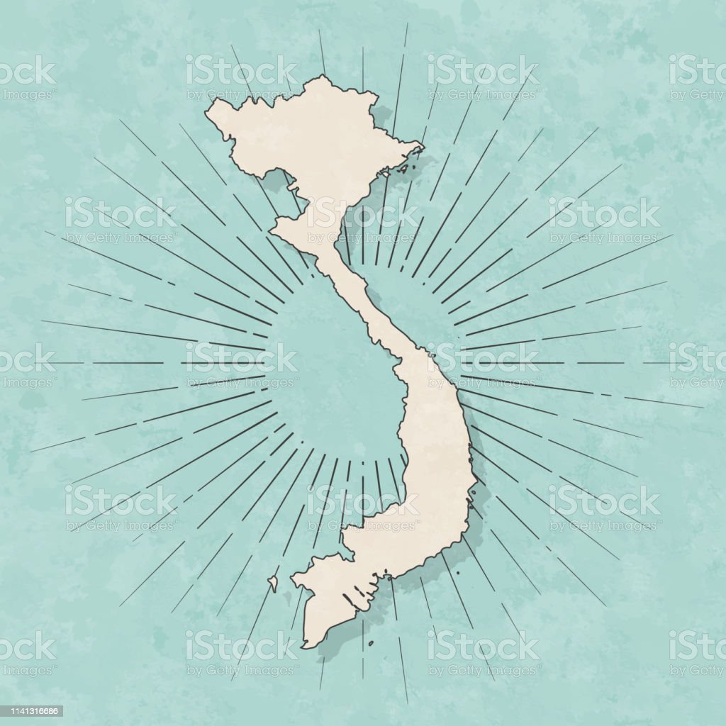 Map of Vietnam in a trendy vintage style. Beautiful retro...