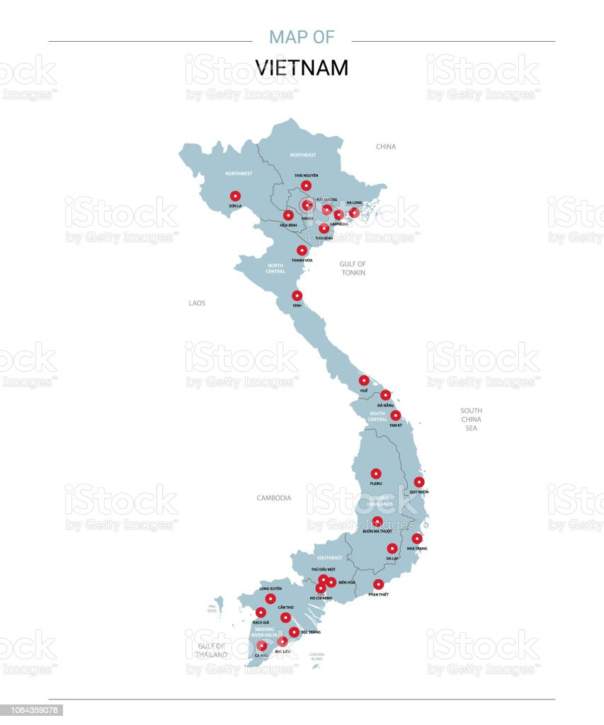Vietnam Map Vector With Red Pin Stock Vector Art & More Images of