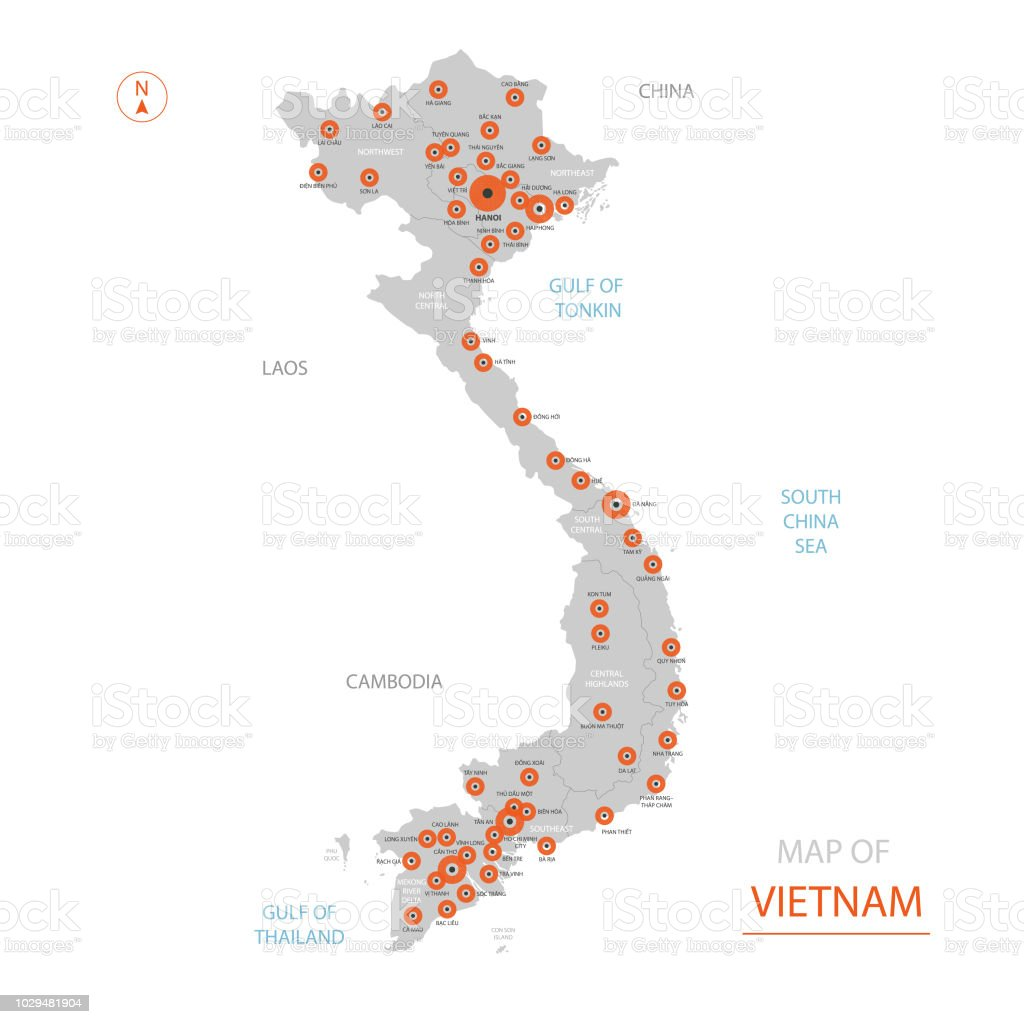 Vietnam Map With Administrative Divisions Stock Illustration