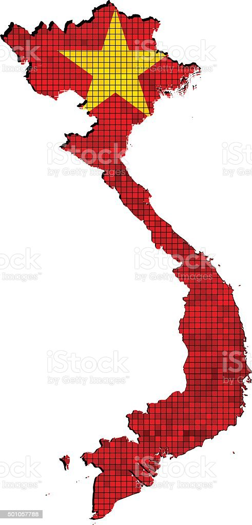 Vietnam map with flag inside vector art illustration