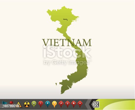 Vietnam map with silhouette and GPS icons