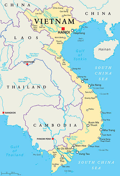 stockillustraties, clipart, cartoons en iconen met vietnam political map - cambodja