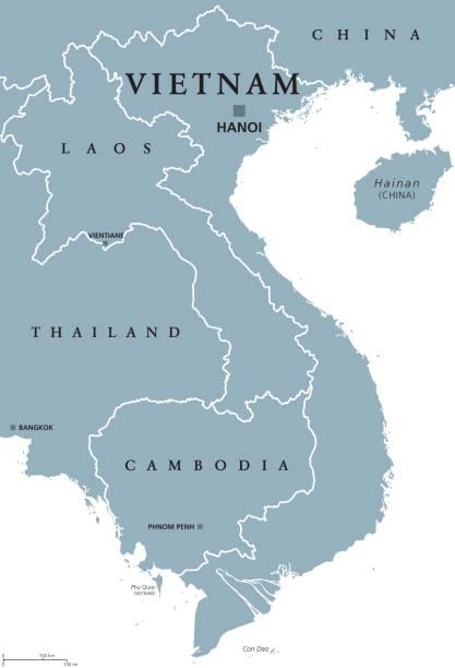 stockillustraties, clipart, cartoons en iconen met politieke kaart van vietnam - laos indochina