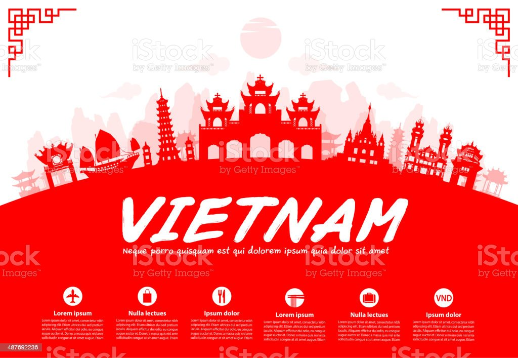 Vietnam Travel Landmarks. vector art illustration