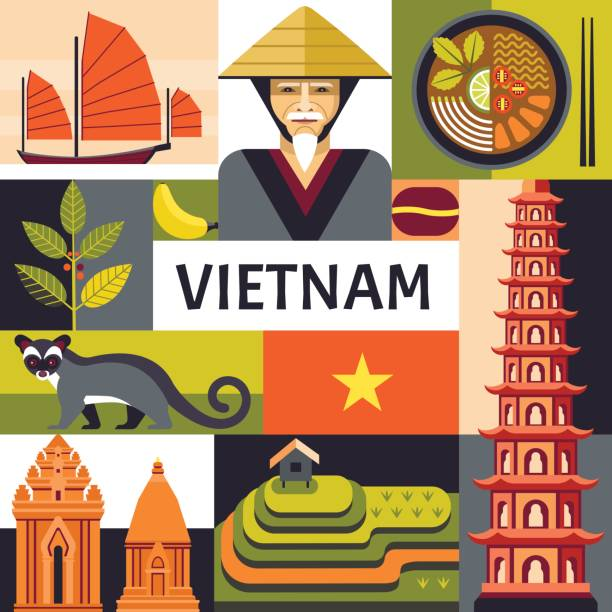 illustrazioni stock, clip art, cartoni animati e icone di tendenza di vietnam travel poster concept. - coffee farmer