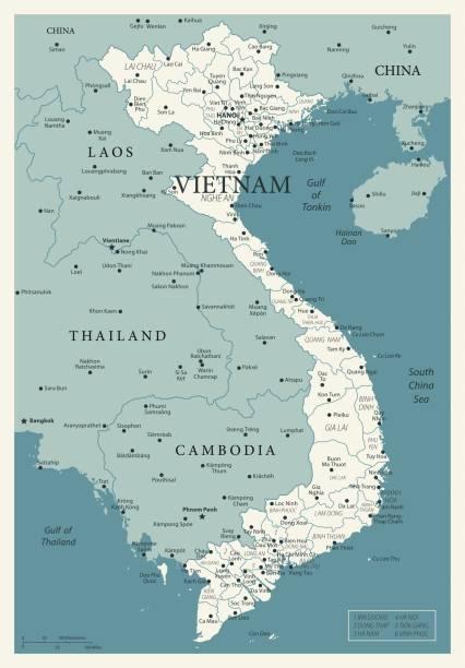 stockillustraties, clipart, cartoons en iconen met 23 - vietnam - vintage murena 10 - laos indochina