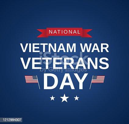 Vietnam War Veterans Day blue card. Vector illustration. EPS10