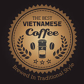 Vector of gold colored Vietnamese Coffee Emblem. EPS Ai 10 file format.