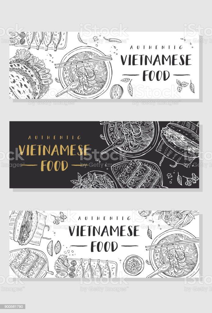 Vietnamese food banner collection vector art illustration