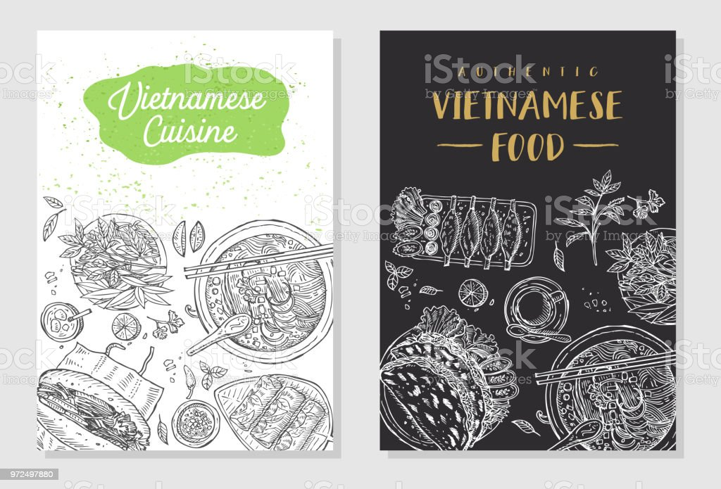 Vietnamese food flyer design. Linear graphic. Vector illustration. Engraved style. vector art illustration