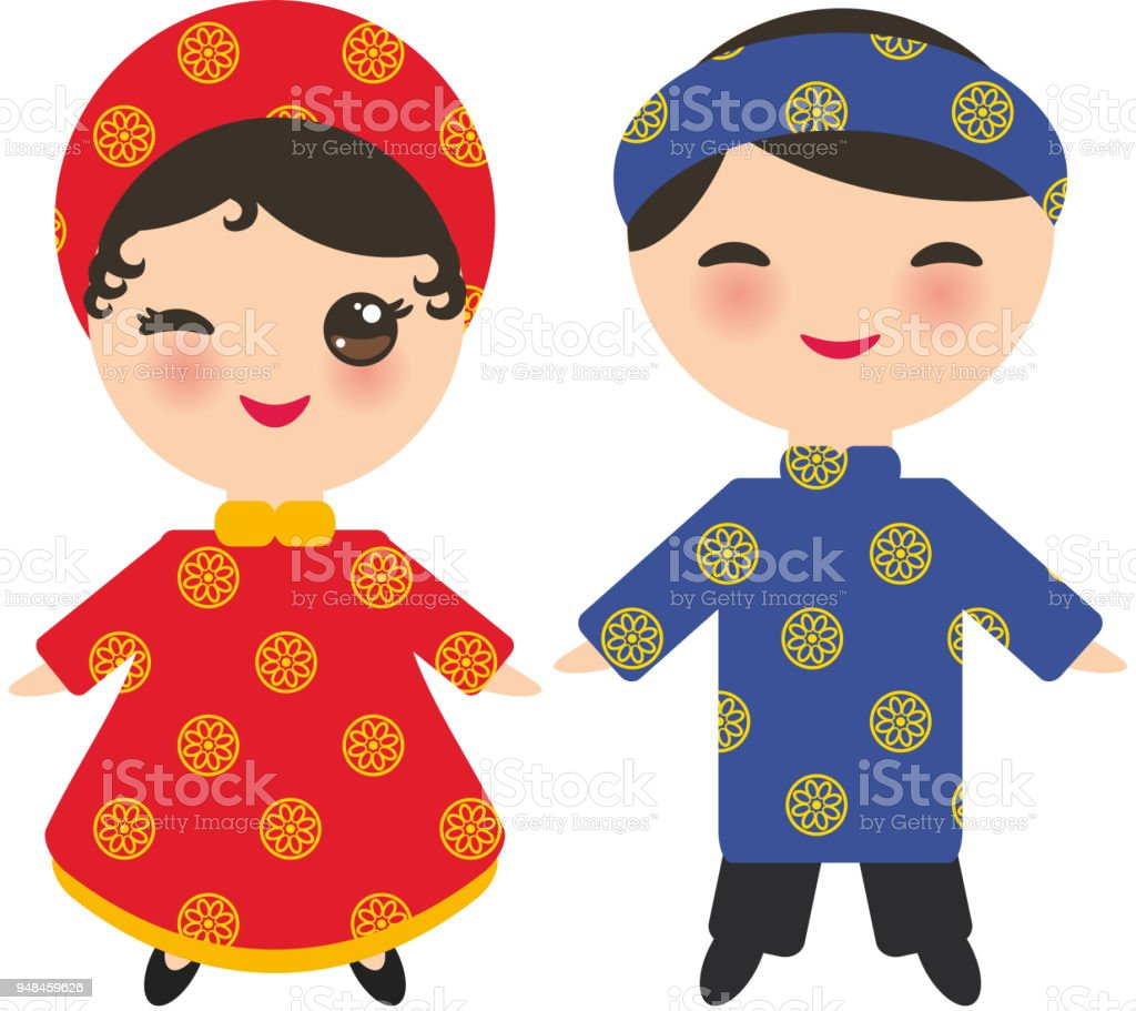 Vietnamese Kawaii boy and girl in national costume and hat. Cartoon children in traditional Vietnam dress isolated on white background. Vector vector art illustration