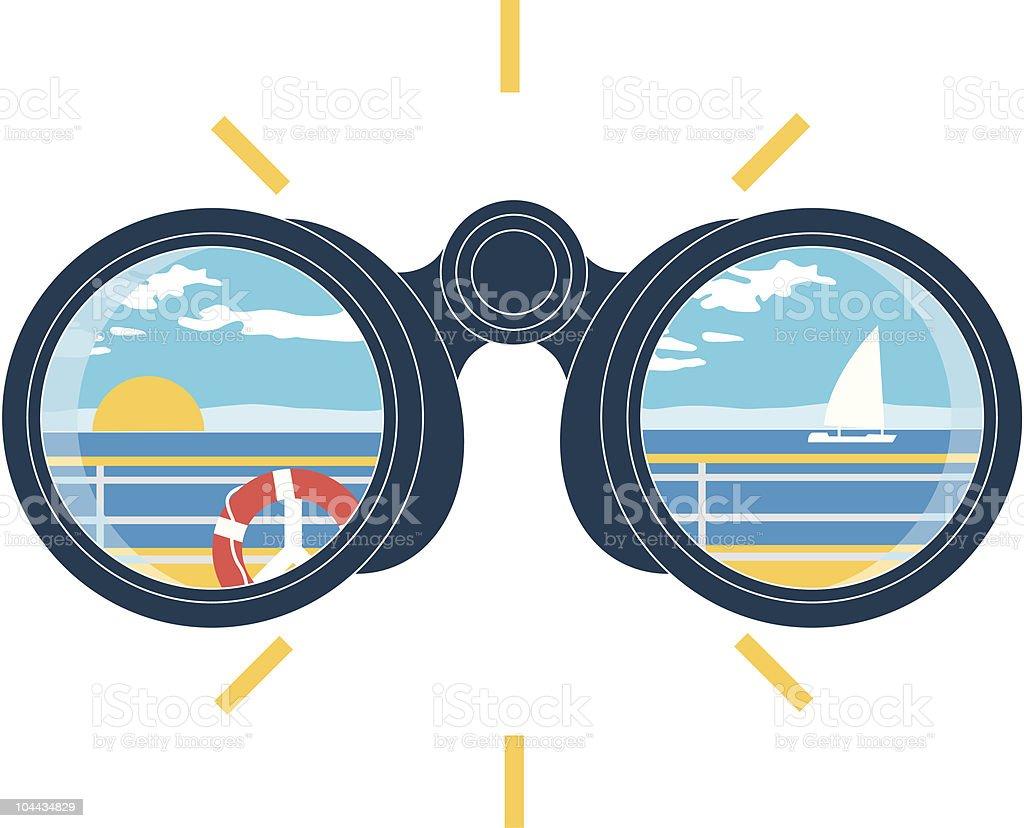 view binoculars vector art illustration