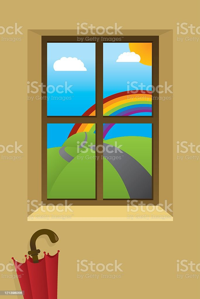 View from a window with umbrella and rainbow royalty-free stock vector art
