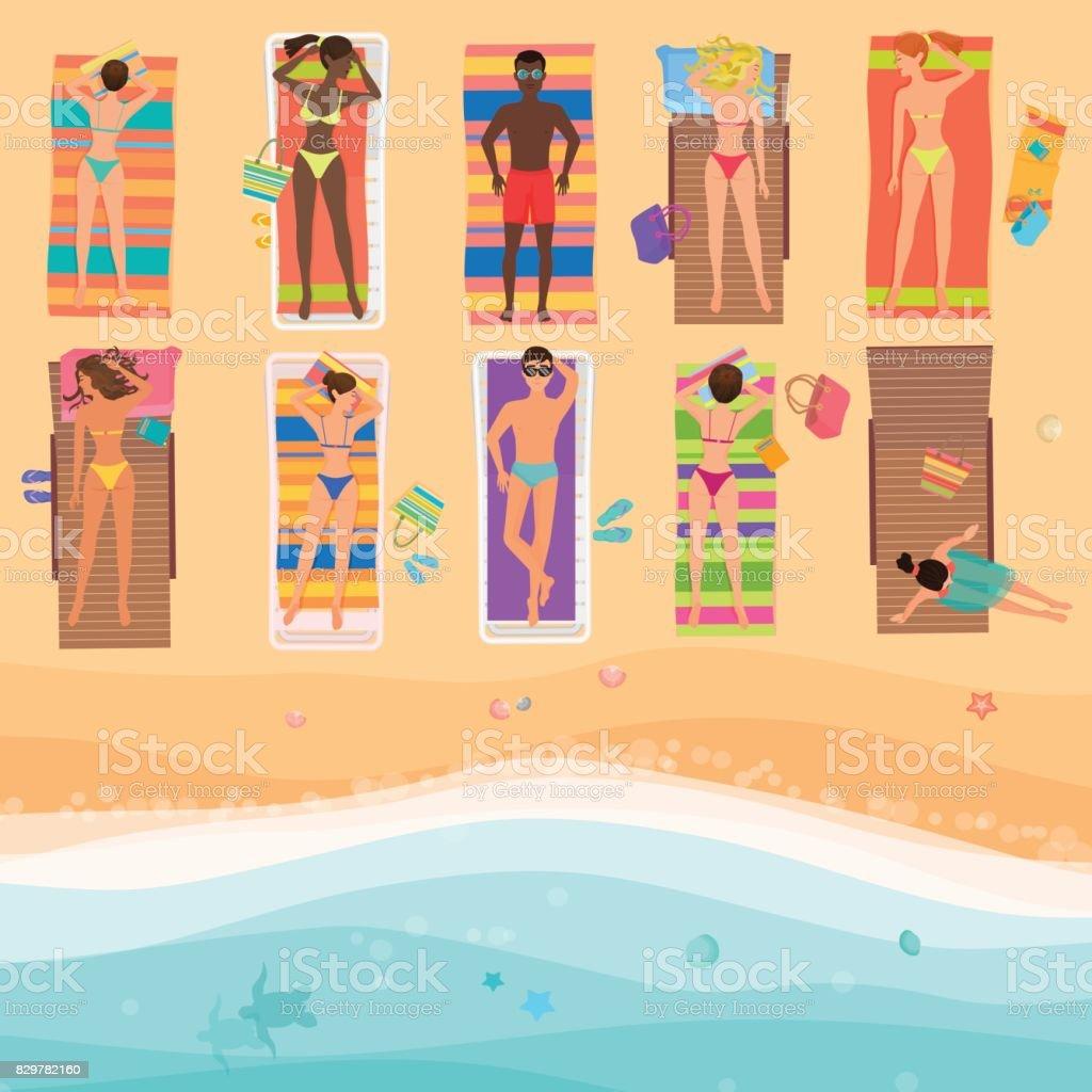 Ansicht von oben Menschen an einem sonnigen Strand. Sommer Meer, Sand, Schirme, Handtücher, Kleidung, Ansicht von oben. Vektor-Illustration. – Vektorgrafik