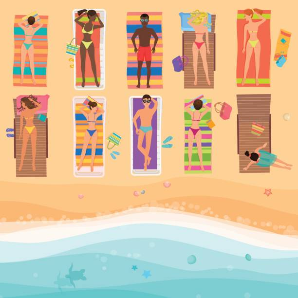 View from above people on a sunny beach. Summertime sea, sand, umbrellas, towels, clothes, Top view. Vector illustration. vector art illustration