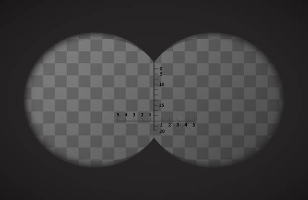 View from the binoculars on transparent background vector art illustration