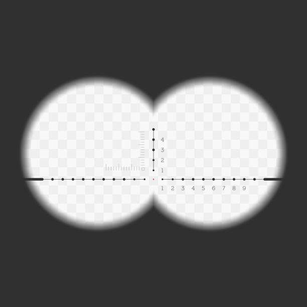 View from the binoculars. vector art illustration