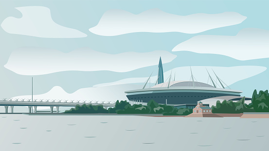 View from the river to the modern stadium and the bridge