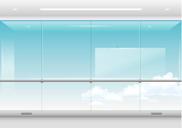 View from the skyscraper View from a skyscraper or waiting room of the airport, station. Modern windows and facades. Vector graphics with transparency airport backgrounds stock illustrations
