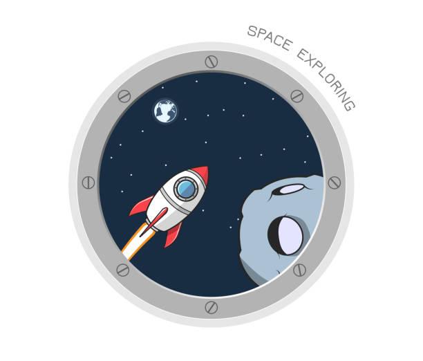 Blick von der Raumsonde Bullauge 2 – Vektorgrafik