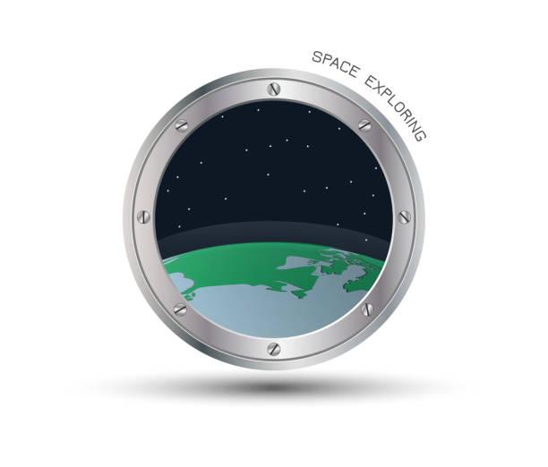 Blick von der Raumsonde Bullauge – Vektorgrafik