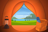 View from the tourist tent vector illustration. Camping in nature. Mountain and lake view. Backpack with thermos and lamp. Tourism background for your design. Eps 10