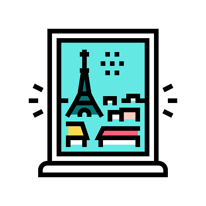 view from window on paris color icon vector illustration