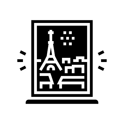 view from window on paris glyph icon vector illustration