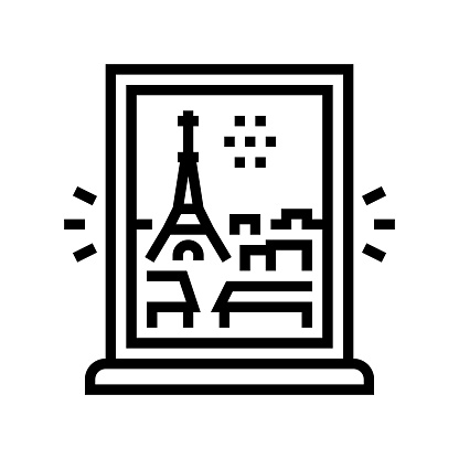 view from window on paris line icon vector illustration