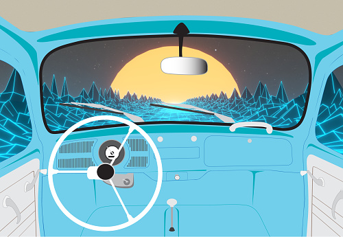 View inside of vintage beetle car on 80s road background