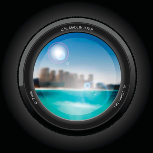 view lens, beautiful cityscape to the beach. - vectors stock pictures, royalty-free photos & images