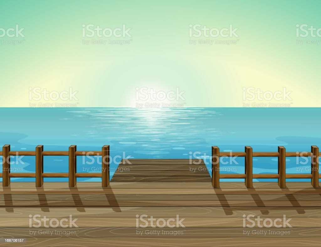 View of a port and the sea vector art illustration