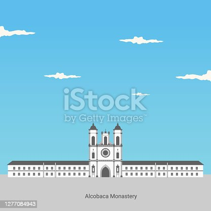 View of Alcobaca monastery in Portugal. Unesco world heritage. Classical landmark for travel destination. The Alcobaca Monastery is a Mediaeval Roman Catholic Monastery. Vacancy in Central Portugal.
