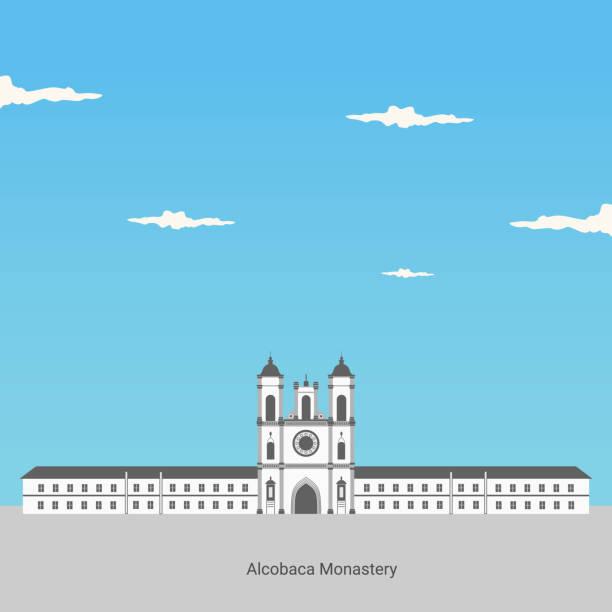 вид на монастырь алькобака в португалии. всемирное наследие unesco. классическая достопримечательность для туристического направления. мона� - unesco stock illustrations